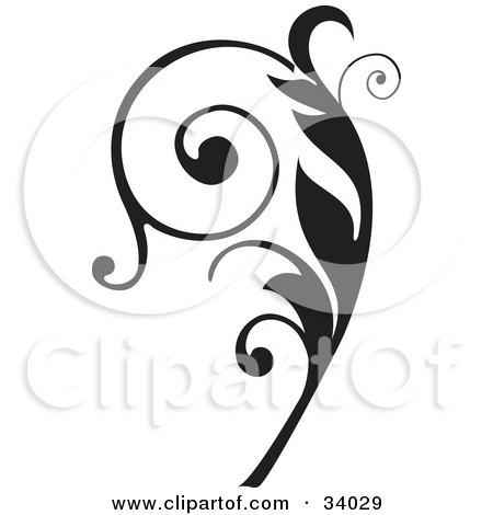 Clipart Illustration of an Elegant Black Curly Vine Scroll by OnFocusMedia