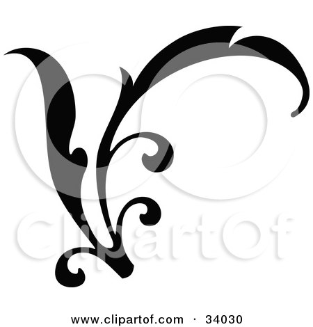 Clipart Illustration of a Curving Black Branch Scroll by OnFocusMedia