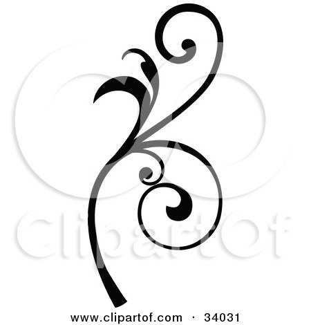 Clipart Illustration of a Black Scroll With Curly Vines by OnFocusMedia