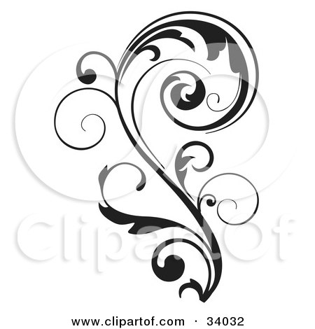 Clipart Illustration of a Black Vine Curling Over In The Shape Of A P by OnFocusMedia