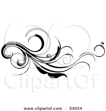 Clipart Illustration of a Long, Black Flourish Scroll by OnFocusMedia