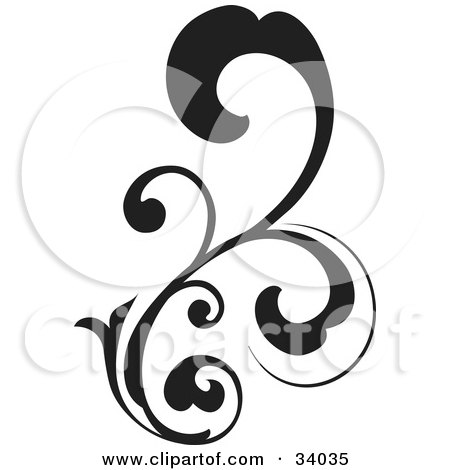 Clipart Illustration of a Black, Bold Curling Vine Scroll by OnFocusMedia