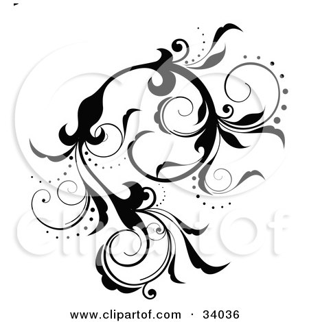 Clipart Illustration of a Black Scrolling Vine With Flowers And Curly Petals by OnFocusMedia