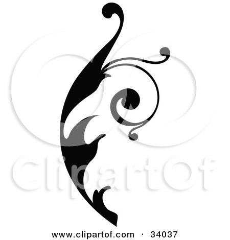 Clipart Illustration of a Curly Black Scroll, Facing Right by OnFocusMedia