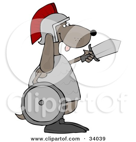 Clipart Illustration of a Military Dog Warrior In A Helmet, Carrying A Sword And Shield by djart