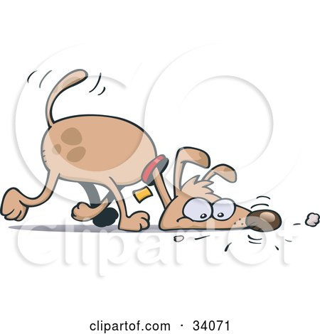 Clipart Illustration of a Brown Pooch Walking With His Head On The Ground, Sniffing A Scent by gnurf