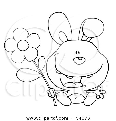 Clipart Illustration of a Black And White Outline Of A Happy Bunny Rabbit Sitting With A Daisy Flower by Hit Toon
