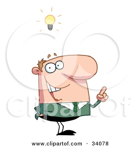 Clipart Illustration of a Smart Guy In Green, Gesturing With His Hand While Thinking Of A Genius Idea, A Light Bulb Above His Head by Hit Toon