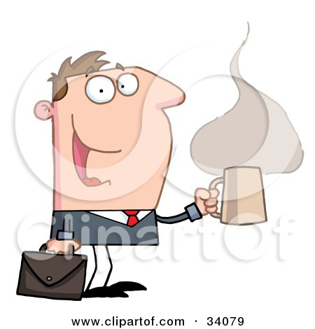 Clipart Illustration of a Pleased Caucasian Businessman Walking With A Briefcase And A Hot Cup Of Coffee by Hit Toon