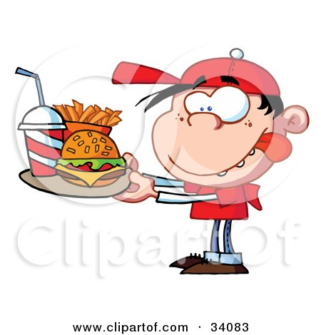 Clipart Illustration of a Little Caucasian Boy Licking His Lips While Carrying A Tray Of Fast Food by Hit Toon
