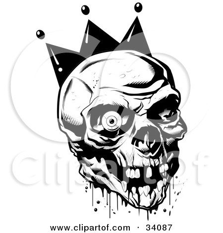 Clipart Illustration of a Bloody Joker Skull With Missing Teeth And One Eyeball by Lawrence Christmas Illustration