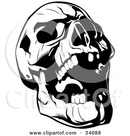 Clipart Illustration of an Evil Skull Tilting Its Head Back And Laughing by Lawrence Christmas Illustration