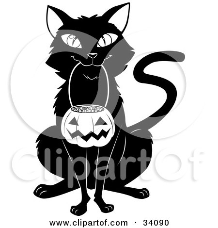 Clipart Illustration of a Black Cat Sitting And Carrying A Pumpkin Basket Full Of Candy Corn In Its Mouth On Halloween by Lawrence Christmas Illustration