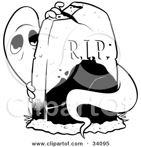 Clipart Illustration Of A Spooked Ghost Peeking From Behind A Tombstone In A Cemetery