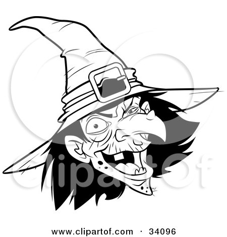 Clipart Illustration of an Ugly Warty Witch In A Hat, Laughing by Lawrence Christmas Illustration