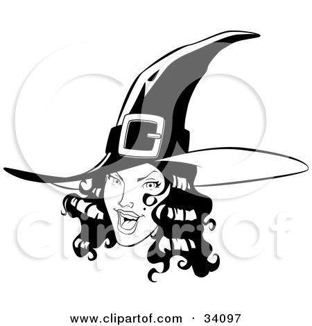 Clipart Illustration of a Pretty Young Witch With Black Wavy Hair, Wearing A Pointy Hat And Flashing A Flirty Expression At The Viewer by Lawrence Christmas Illustration