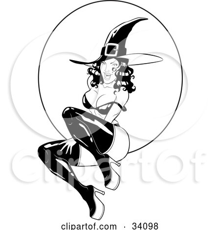 Clipart Illustration of a Sexy, Flirty, Young Witch In Tall Boots And A Pointy Hat, Her Bra Strap Over Her Shoulder, Sitting In Front Of A Full Moon by Lawrence Christmas Illustration