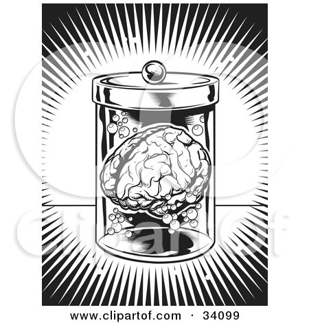 Clipart Illustration of a Burst Of Bright Light Around A Human Brain Floating In A Jar In A Science Lab by Lawrence Christmas Illustration