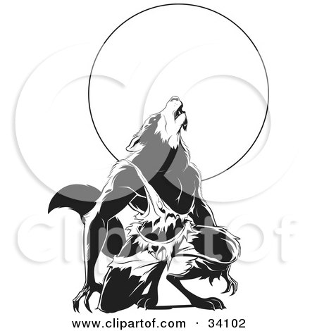 Clipart Illustration of a Howling Wolfman In Torn Clothes, Kneeling In Front Of A Full Moon by Lawrence Christmas Illustration
