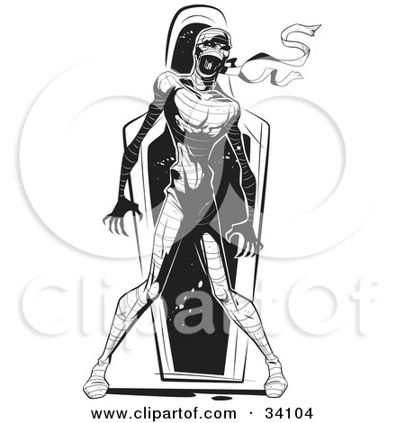 Clipart Illustration of an Angry Mummy Emerging From His Coffin by Lawrence Christmas Illustration