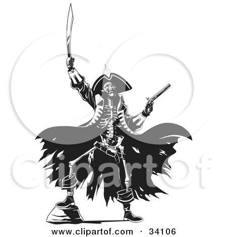 Clipart Illustration of a Skeleton Pirate Raising Hell, One Foot Up On A Rock, Holding A Sword And Pistil by Lawrence Christmas Illustration