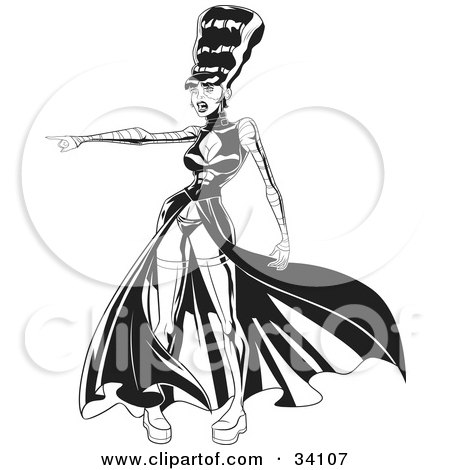 Clipart Illustration of The Bride Of Frankenstein In A Sexy Dress And Boots, Pointing To The Left by Lawrence Christmas Illustration