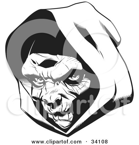 Clipart Illustration of The Head Of The Grim Reaper, Partially In Shadow Under A Hood by Lawrence Christmas Illustration