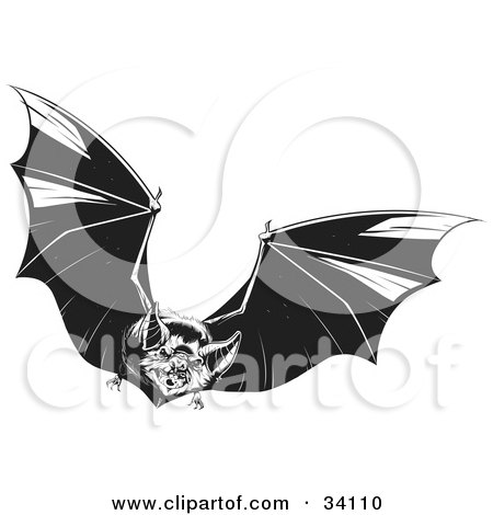 Clipart Illustration of an Evil Vampire Bat In Flight, Flapping Its Wings And Flying Forward by Lawrence Christmas Illustration