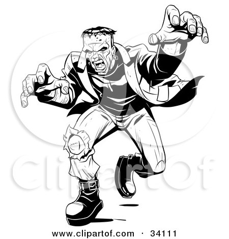 Clipart Illustration of Angry Frankenstein Lunging Forward To Attack, His Massive Hands Extended Towards The Viewer by Lawrence Christmas Illustration