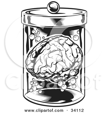 Clipart Illustration of a Human Brain And Bubbles Floating In A Specimen Jar In A Research Laboratory by Lawrence Christmas Illustration