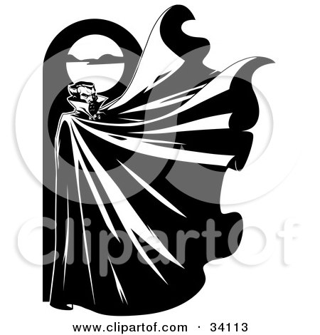 Mysterious Male Vampire Standing Below A Full Moon With His Cape Flapping In The Wind Posters, Art Prints
