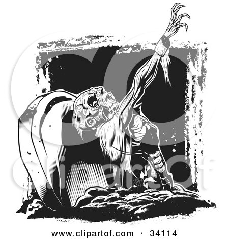 Clipart Illustration of a Scary Zombie Corpse Rising From The Grave In A Cemetery by Lawrence Christmas Illustration