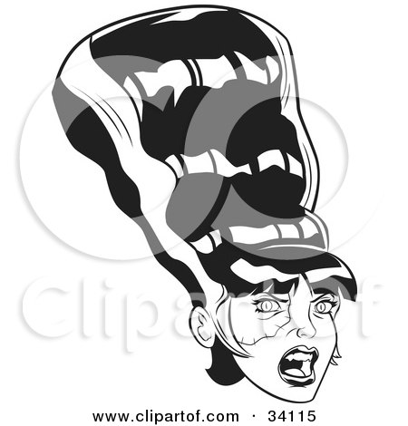 Clipart Illustration of The Bride Of Frankenstein With A Conical Black Hairdo With White Stripes And A Stitched Cheek by Lawrence Christmas Illustration