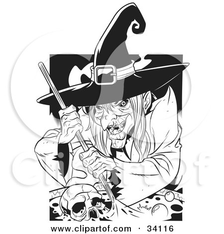 Ugly Warty Witch Grinning While Stirring A Skull And Potion In A Spell Cauldron Posters, Art Prints