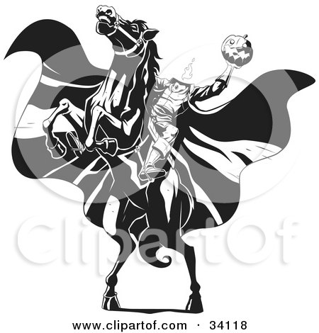 Clipart Illustration of The Headless Horseman On A Rearing Horse, Holding Up A Jack O Lantern As His Cape Blows In The Wind by Lawrence Christmas Illustration