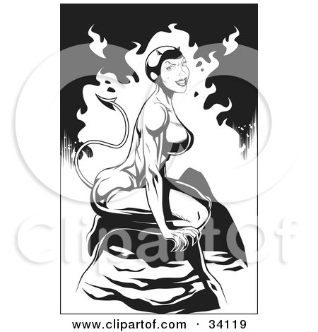 Clipart Illustration of a Sexy, Muscular Female She Devil Seated On A Rock In Hello, On A Flaming Black And White Background by Lawrence Christmas Illustration
