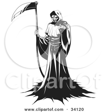 Clipart Illustration of The Grim Reaper Standing In A Robe, Holding A Scythe And Beckoning For The Viewer To Come Forward by Lawrence Christmas Illustration