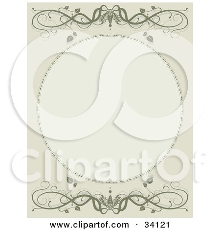 Clipart Illustration of a Green Scroll Background With A Blank Oval Space And Scrolling Vines by Maria Bell