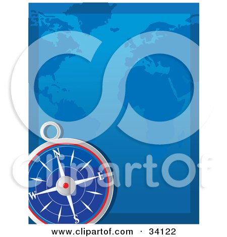 Clipart Illustration of a Compass In The Lower Corner Of A Blue Atlas by Maria Bell