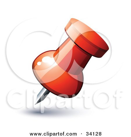 Clipart Illustration of a Red Map Push Pin by beboy