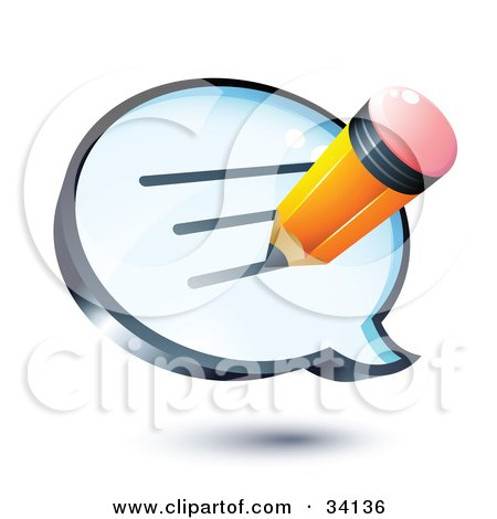 Clipart Illustration of a Yellow Pencil Writing A Message On A Shiny Blue Thought Balloon Or Instant Messenger Window by beboy
