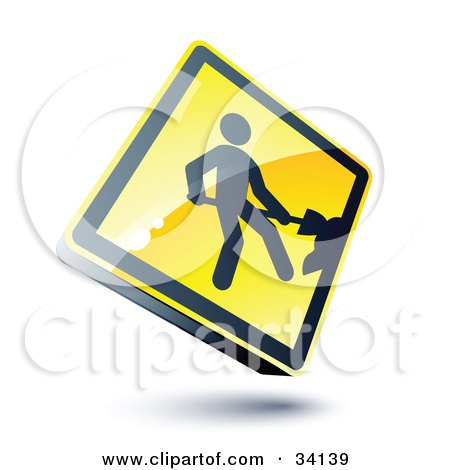Clipart Illustration of a Shiny 3d Construction Sign With A Digger by beboy
