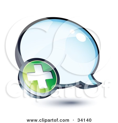 Clipart Illustration of a Positive Plus Mark On A Shiny Blue Thought Balloon Or Instant Messenger Window by beboy