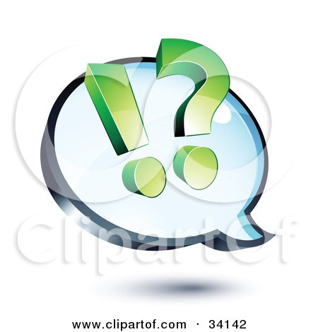 Clipart Illustration of a Green Exclamation Point And Question Mark On A Shiny Blue Thought Balloon Or Instant Messenger Window by beboy