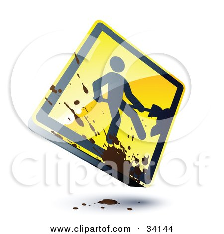 Clipart Illustration of a Splatter Of Mud On A Shiny 3d Construction Sign With A Digger by beboy