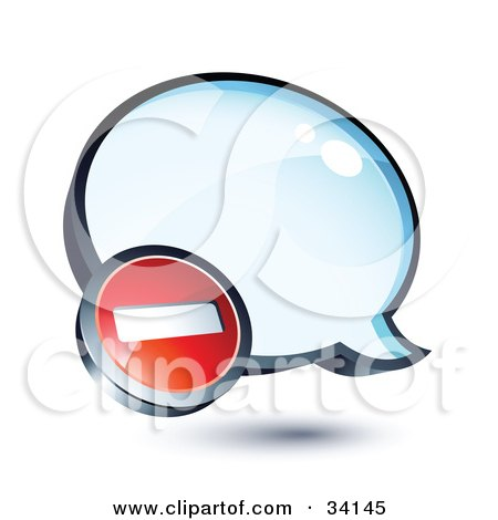 Clipart Illustration of a Negative Subtraction Symbol On A Shiny Blue Thought Balloon Or Instant Messenger Window by beboy
