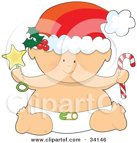 Clipart Illustration of a Christmas Baby In A Santa Hat And Diaper, Holding A Star Rattle And A Candy Cane by Maria Bell