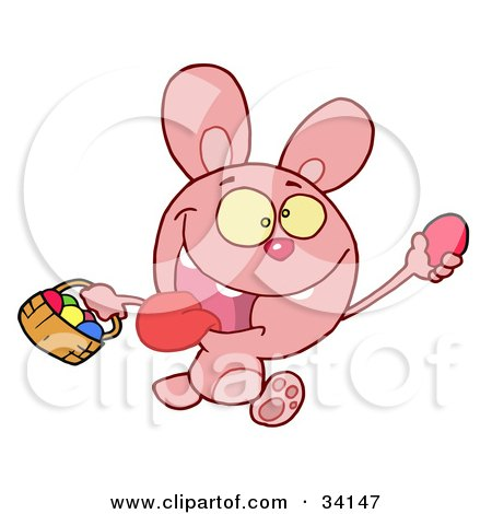 Clipart Illustration of a Hyper Pink Bunny Rabbit With Its Tongue Hanging Out, Running And Holding Up An Egg And Carrying A Basket During An Easter Egg Hunt by Hit Toon