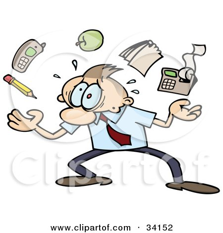 Clipart Illustration of a Overwhelmed Caucasian Businessman Juggling A Pencil, Cell Phone, Apple, Notepad And Calculator, Trying To Handle All Of His Responsibilities by gnurf