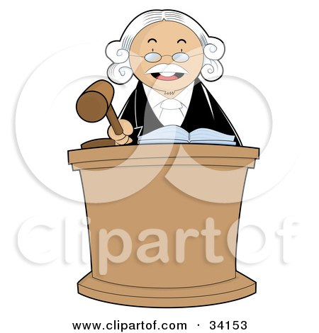 Clipart Illustration of a Stern Male Judge In A White Wig, Standing Behind A Podium And Banging His Gavel During Court by YUHAIZAN YUNUS